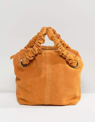 Asos Design DESIGN suede zip top tote bag with ruched handle