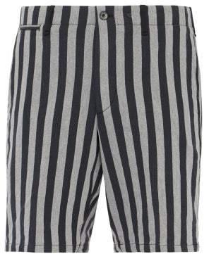 Rag & Bone Jacquard Stripe Herringbone Twill Bermuda Shorts - Mens - Black White