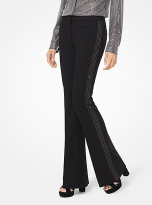 Michael Kors Embellished Stretch-Twill Flared Trousers