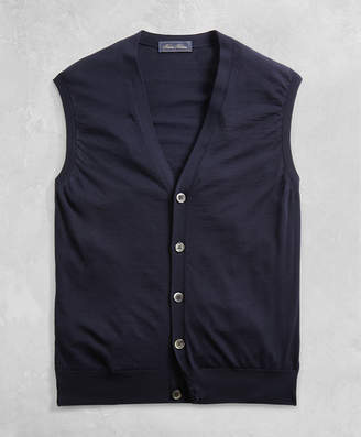 Brooks Brothers Golden Fleece 3-D Knit Fine-Gauge Merino Button Vest