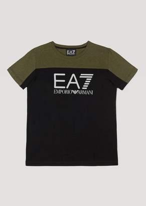 Emporio Armani Ea7 Boys Two-Tone Jersey T-Shirt With Logo Detail
