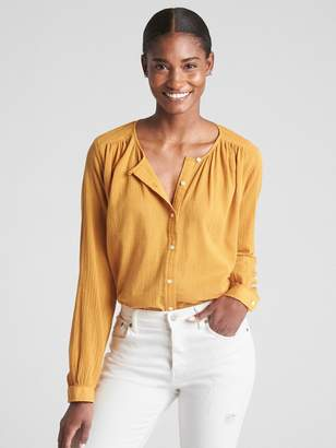 Gap Long Sleeve Crinkle Shirt