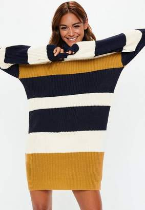 Missguided Mustard Oversized Colorblock Turtle Neck Sweater Dress