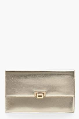 boohoo Metallic Hinge Lock Clutch