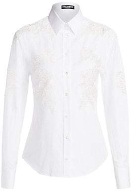 a4313a23 Dolce & Gabbana Women's Lace Inset Button-Down Poplin Shirt
