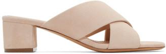 Mansur Gavriel Beige Suede Crossover Sandals $475 thestylecure.com