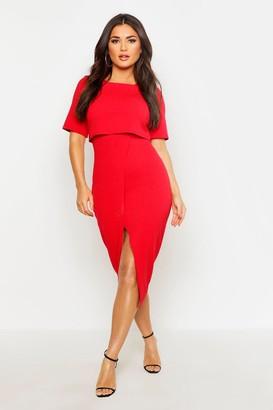 boohoo Layered Wrap Wiggle Midi Dress