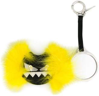 Fendi black and yellow Monster Crystal Embellished Fox Fur Keyring