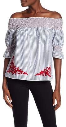 Dex Smocked Off-the-Shoulder Pinstripe Blouse