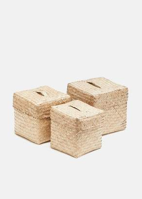 Bidk Home Woven Seagrass Square Boxes