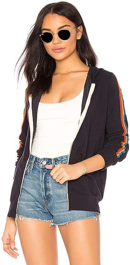 Rainbow Stripe Zip Up Hoodie
