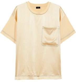Joseph Silk Satin-paneled Cotton-jersey T-shirt