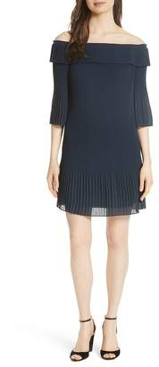 Ted Baker Bardot Pleated Off-the-Shoulder Chiffon Minidress