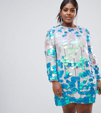 Asos EDITION Curve disc sequin shift dress