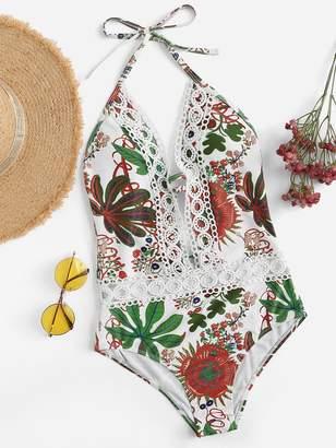 Shein Random Tropical Crochet Deep-V Backless One Piece Swimwear