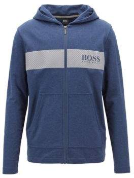 BOSS Hooded loungewear jacket in French terry with printed mesh