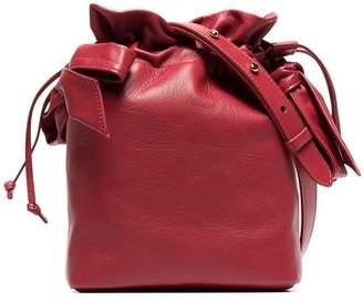 Simone Rocha Red Bow Appliqué Leather Bucket Bag