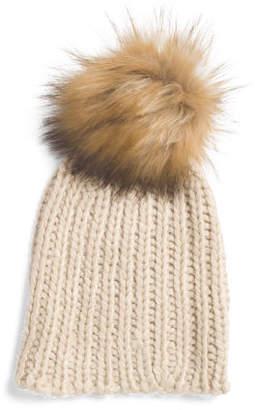 Chunky Knit Beanie With Faux Fur Pom