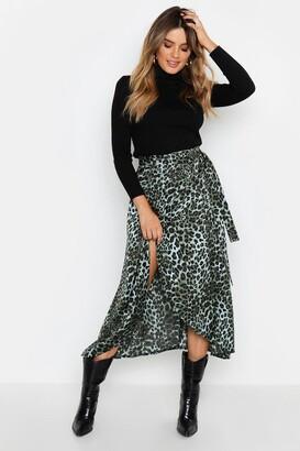 boohoo Satin Green Leopard Wrap Midaxi Skirt