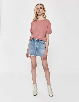 A Gold E Agolde Quinn High Rise Denim Mini Skirt in Devotee