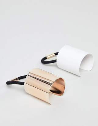 Asos DESIGN pack of 2 sleek hair cuffs in rose gold and white