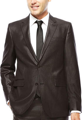Jf J.Ferrar JF Charcoal-Black Plaid Suit Jacket - Slim Fit