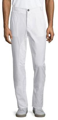 Brunello Cucinelli Flat-Front Cotton Pants, Off White $595 thestylecure.com