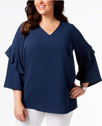 Alfani Plus Size Ruffled V-Neck Top, Created for Macy's