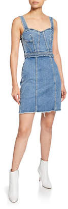 7 For All Mankind Fray Sweetheart Sleeveless Denim Dress