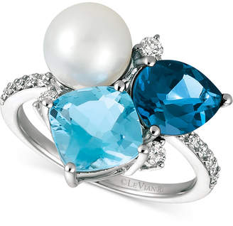 LeVian Le Vian London Blue Topaz (1-3/4 ct. t.w.), Blue Topaz (2-1/3 ct. t.w.), Cultured Freshwater Pearl (9mm) and Diamond (1/4 ct. t.w.) Ring in 14k White Gold