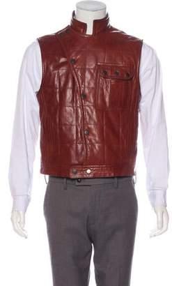 John Varvatos Leather Quilted Vest