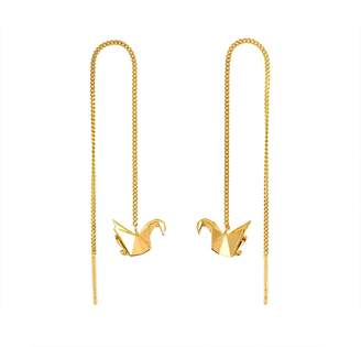 012c0420d Origami Jewellery Swan Gold Chain Earrings
