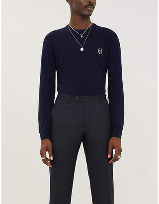 The Kooples Skull-patch crewneck wool and cashmere-blend jumper