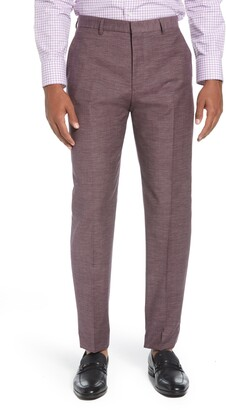 BOSS Pirko Flat Front Solid Wool & Cotton Dress Pants