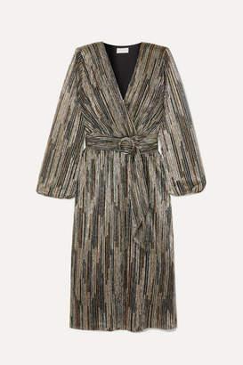 Rebecca Vallance Bellagio Lurex Midi Dress - Gold
