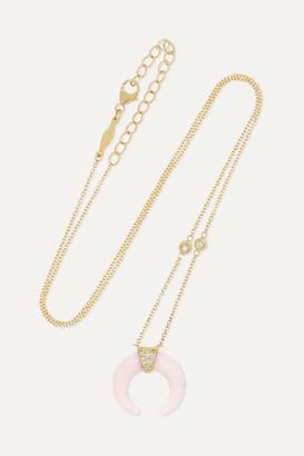 Jacquie Aiche Mini Double Horn 14-karat Gold, Rose Quartz And Diamond Necklace