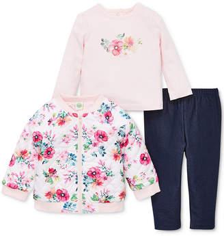 Little Me Baby Girls 3-Pc. Reversible Floral-Print Jacket, Top & Leggings Set