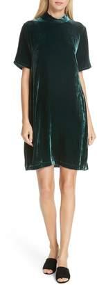 Eileen Fisher Tie Back Velvet Shift Dress