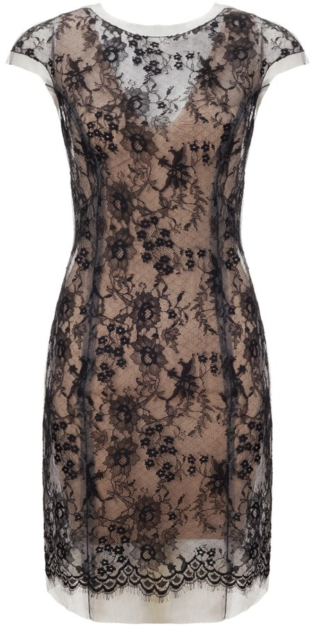 Huishan Zhang Nude Mesh Lace Mini Dress