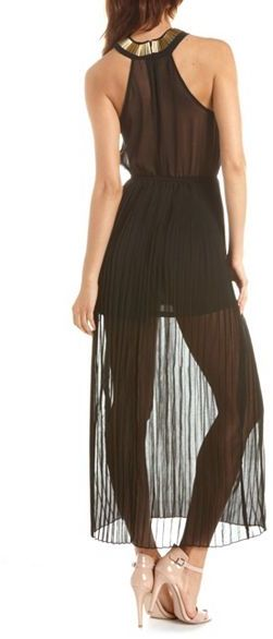 Charlotte Russe Embellished Pleated Maxi Dress