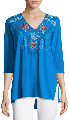 JWLA for Johnny Was V-Neck Embroidered-Yoke Tunic, Blue $99 thestylecure.com