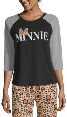 Disney Separates Womens Pajama Top Fitted Sleeve Round Neck Minnie Mouse