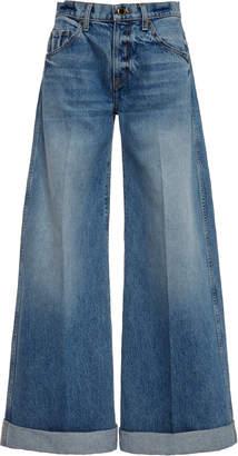 KHAITE Noelle Mid-Rise Wide-Leg Jeans Size: 25