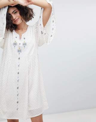 Intropia Embroidered Tunic Dress With Fluted Sleeve
