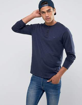 Threadbare Slub Long Sleeve Grandad T-Shirt