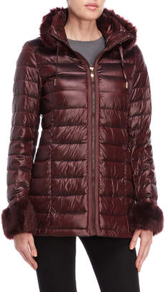 Via Spiga Faux Fur Trim Packable Down Coat