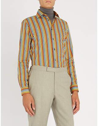 Richard James Patterned contemporary-fit cotton shirt