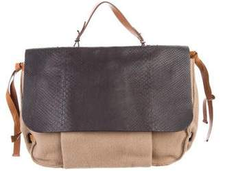 Reed Krakoff Snakeskin-Trimmed Messenger Bag