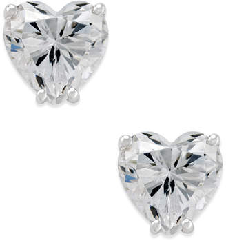 Arabella Swarovski Zirconia Heart Stud Earrings in 14k White Gold