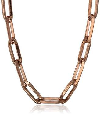 Stainless Steel Rectangular Open Link Chain Rose Gold Plated Necklace